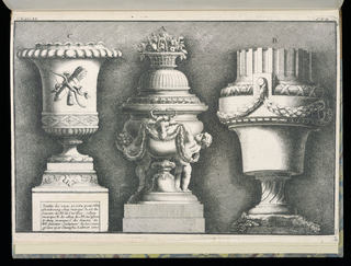 Three designs for vases in Neoclassical style, each by a different designer. At left, the vase by Gunther stands upon a tall pedestal, the face of the vase decorated with a bow and a quiver of arrows. At center, a vase by Cuvillies topped with a basket of flowers, a bull's head at center surrounded by two putti figures holding a garland of leaves. At right, a vase by Delafosse with a twisting base decorated with leafy festoons. Background with hatching.