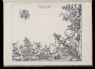 Folio 10, plate 2 of series 7. Design for ceiling with trophy motif. Upper left (presumed central ceiling motif) a cartouche with trophy motifs- horn, banner and garland. Below, at right angle, an asymmetric design of putti riding dolphins (at left hoding a paddle, at right holding a triton), a pine tree in center. A goddess holding a banner (center), a goddess with plumage and two horns, the House of Wittelsbach banner and mask below. A rustic god, a putti riding a dolphin, water plants at right. Sections are connected with dotted lines, presumably as a guide to the stucco decor.