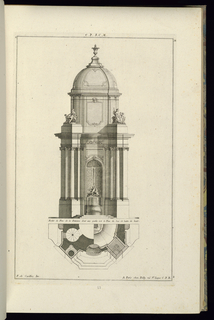 Print, Elevation and Plan for a Public Fountain, 1745
