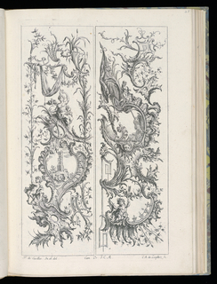 Two designs for upright panels in Rococo style. Left panel: scrollowork and vegetative ornamentation with a central cartouche. Within cartouche, an architectural ruin. Surrounding it, a satyr and male figure. Right panel: within central cartouche, a landscape scene with a lion's mask below. At bottom, a putto figure holding a staff.