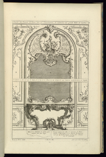 Print, Design for Upper Part of a Trumeau with a Mirror and a Console Table