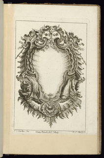Blank symmetrical upright cartouche in Rococo style topped with a cow's skull and surrounded by armorial trophies with a feathered ornamental border at bottom.
