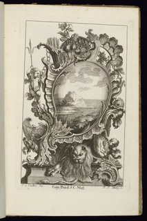 Asymmetrical cartouche in Rococo style with a seated lion at base. Putti figures surround the ornamental frame, which is heavily decorated with vegetation and scrollwork. Within cartouche, a seascape scene of a mountainous island.