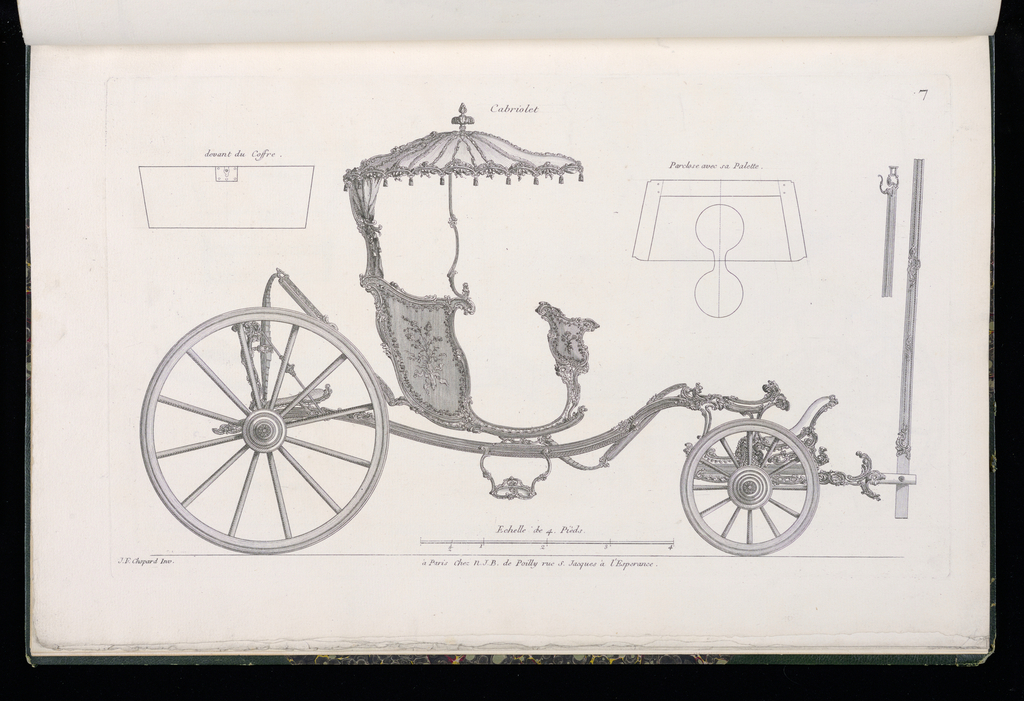 Plate 7, Folio 7 of a series of 13 prints of designs for carriages or coaches. Carriage decorated in Rococo motif, shown in elevation, with details of the various parts at upper left and upper right. The body of the coach is open and decorated with painted panels and mounts likely to be executed in bronze. The carriage roof is an ornamented curved dome.