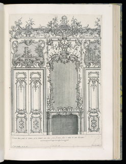 Design for an interior wall decoration with applied ornamental stuccowork. A chimneypiece at center with a large mirror above. On either side, double doors with overdoor paintings depicting architectural ruins. Scale at bottom center.