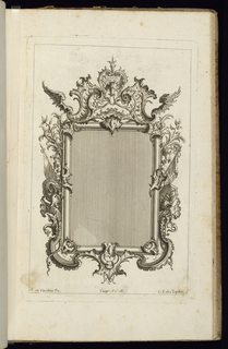 Upright frame design for a mirror or painting, rectangular form, with armorial trophies at left and right.