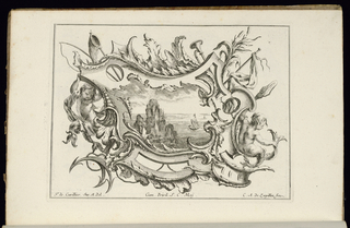 Asymmetrical oblong cartouche in Rococo style with two young tritons at left and right. Other nautical elements (fishing net, anchor) surround the ornamental design. Within cartouche, a seascape featuring a ship sailing on the sea away from a rocky island.