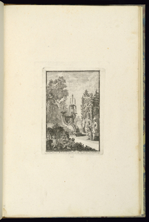 Print, Design with a Young Cadet with his Tutor in a Garden with a Fountain, 1745