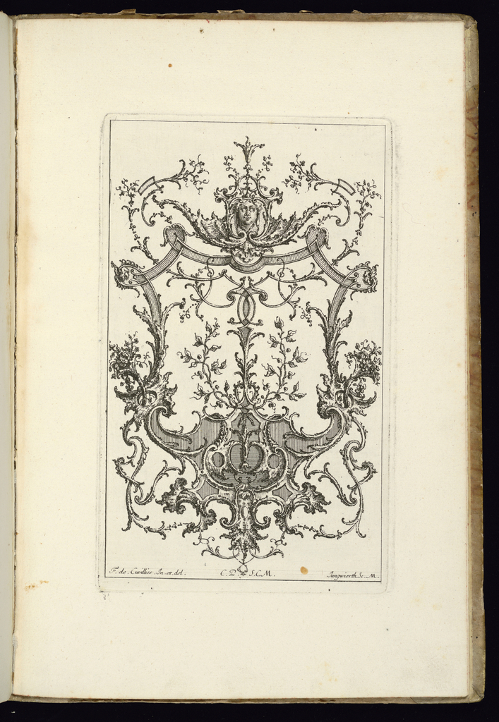 Design for upright symmetrical cartouche with two laurel branches at center. At upper center, a mascaron.