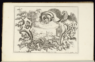 Asymmetrical oblong cartouche in Rococo style topped with a dragon; a large bird perched on the frame at upper right. Vegetation at the sides. At left and right, two winged putti support the ornamental frame. Within cartouche, a landscape scene of a figure in a clearing within a town--a church building visible at right.
