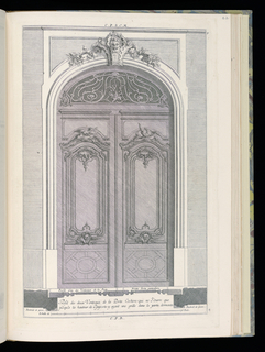 Design for a carriage door (double door) in Rococo style. Each door decorated with panels topped by flying birds, a geometric design at bottom. In the arched overdoor above the transom, scrolling vines form a grille with a flower at lower center. A mask above. Scale at bottom center.