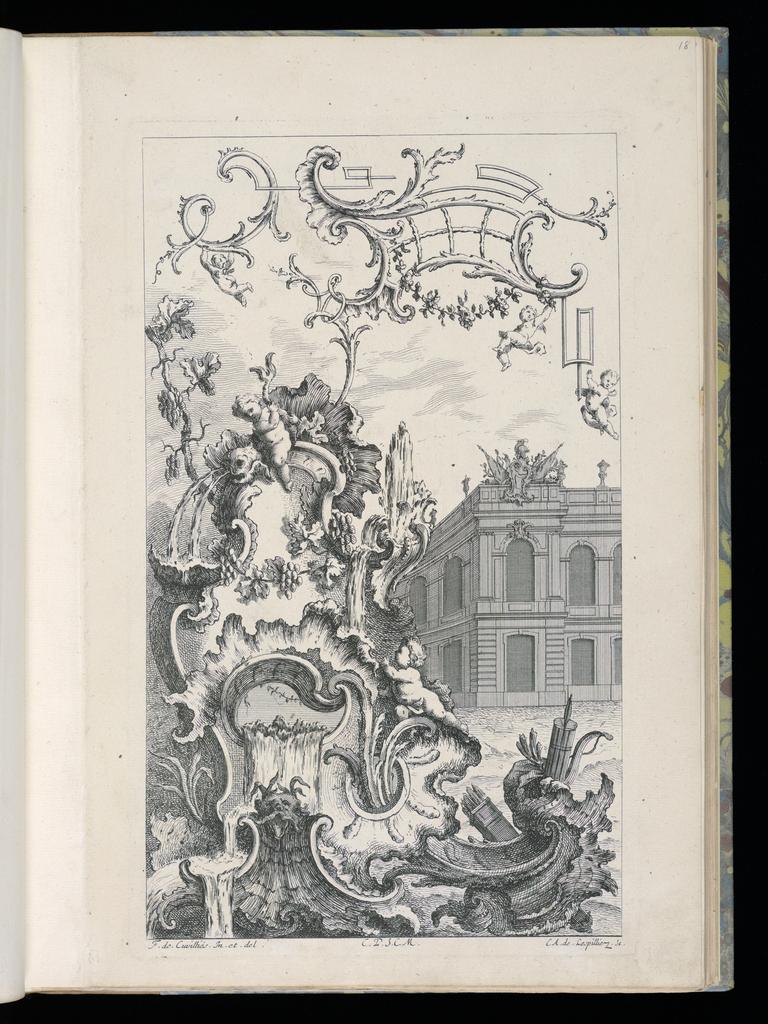 Bound Print, Cartouche with Fountain and Building, Livre Nouveau Morceaux de Fantaisie (New Book of Fantasy Pieces)