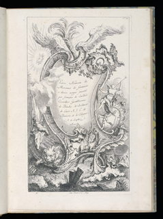 Cartouche framed by wings of an eagle and plumes; sun at left, flowers, figure playing horn at right and putto; winged dragon, lion, shells on rocky landscape.