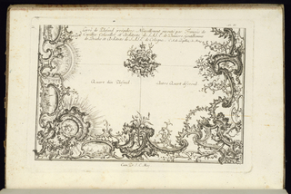 Title plate, design for two quarters of a ceiling in the Rococo style with alternate suggestions divided by a central rosette.