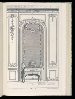 Design for interior wall in Rococo style. At the center, a large arched mirror framed and decorated with ornament in the form of floral festoons, a mask hanging from the garland at upper center. Below the mirror, a secretary (writing desk) shown closed, a clock with candleabra placed upon it. Flanking the mirror, two decorative panels in different styles to offer the patron design choices; a suspended decoration of flowers and musical instruments decorates the panel at left. Scale at lower left.