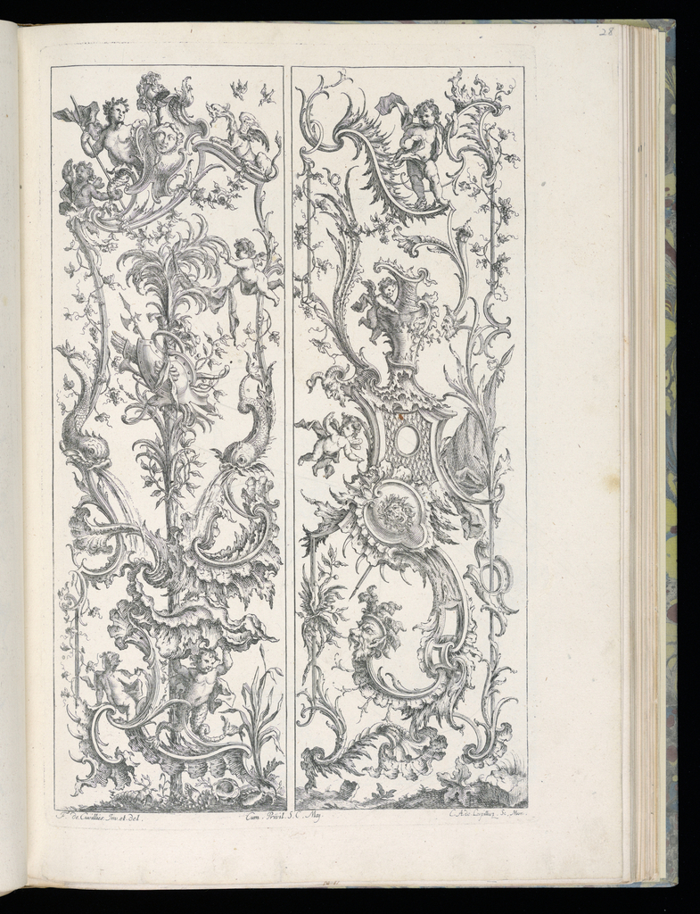 Two designs for upright panels in Rococo style. Left panel: a palm tree with an armorial trophy at center, flanked by two dolphins spewing water below. Above, a group of putti, a male figure, and a dragon. Right panel: rocaille motifs with an urn at center. Various putti throughout.