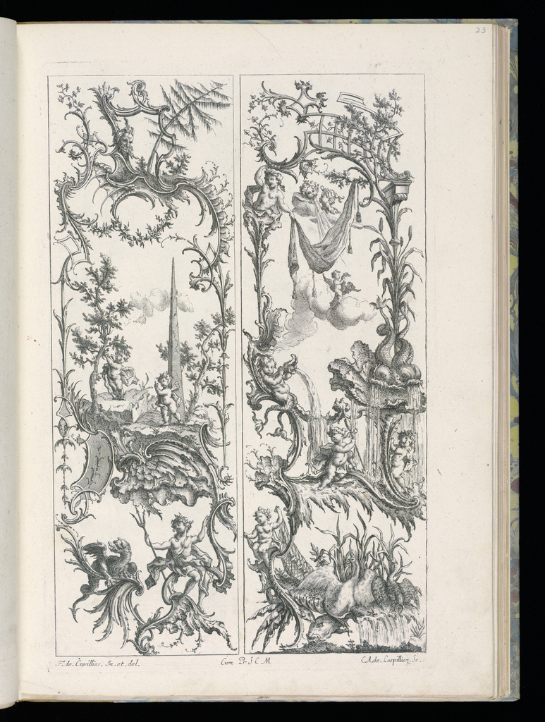 Two designs for upright panels in Rococo style. Left panel: at bottom, a male figure holding a triton and a dragon perched upon rocaille scrollwork. Above, at center, a small landscape scene with two putti and an obelisk. Above, at top, additional scrollwork and ornament, a mask, and trees. Right panel: at bottom, a fishing scene; a putto holds a large net near a body of water; waterbirds perch upon the surface, their wings raised, several large fish below. Above, at center, a fountain scene with three putti, the figure at center wearing a cape and holding a staff, the putto at left blowing water through a conch shell. Above, at top, a wind blows a swath of drapery.