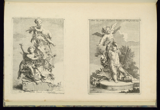 Print, Design with Pedestal with Two Children Playing Music, 1745