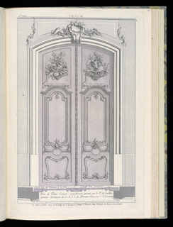Title page and design for double doors in Rococo style. At the upper portion of each door panel, decoration composed of hunting horns, arrows, dead rabbits, birds, and fox (?); boars with bared teeth at the center of each decorative scheme. Scale at lower center.