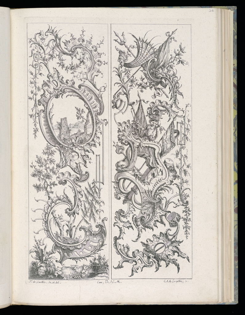 Two designs for upright panels in Rococo style. Left panel: Rocaille scrollwork motifs throughout. At bottom, a small landscape scene contained within the curve with trees and vegetation; fruits below. At top, within cartouche, a scene with architectural ruins including a broken obelisk in foreground, additional buildings in background. Right panel: Rocaille scrollwork with armorial trophies; a putto figure and a dolphin at center.