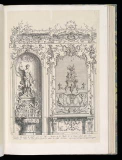 Design for an interior wall decoration with applied ornamental stuccowork. At left, a niche with a fountain and a statue of Venus surrounded by putti figures. At right, a buffet. The pilaster panels are decorated with trophies. Scale at lower right.