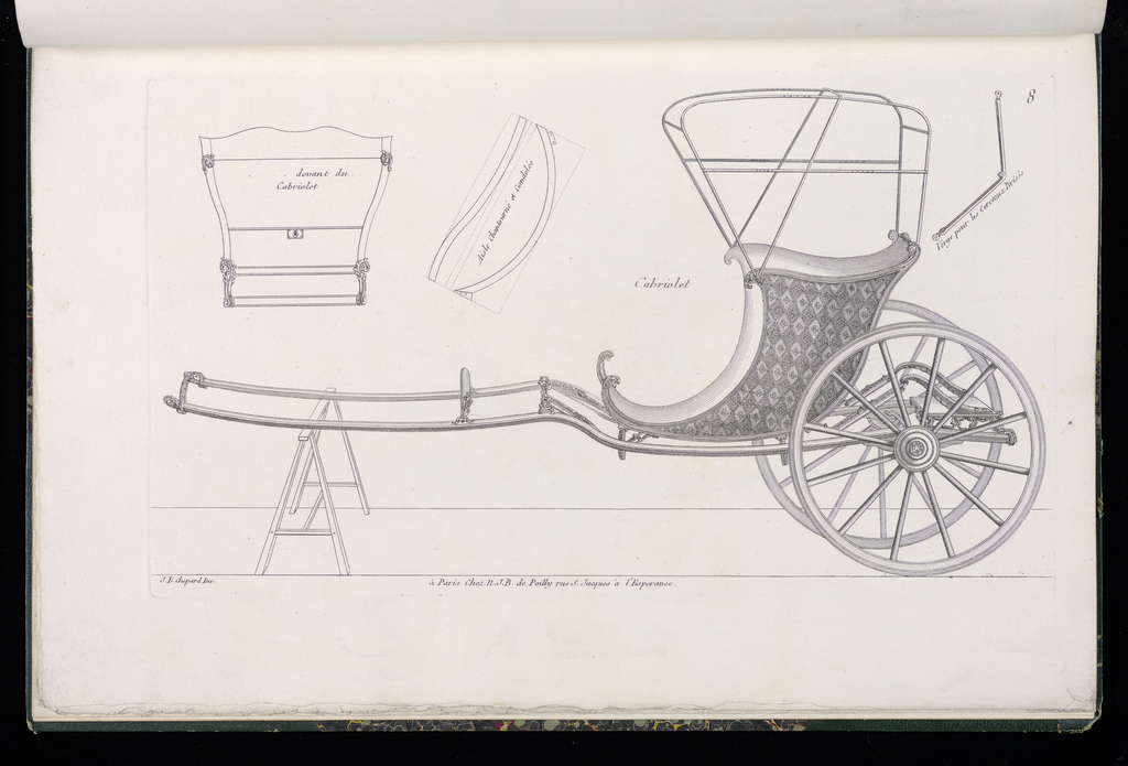Plate 8, Folio 8 of a series of 13 prints of designs for carriages or coaches. Horse-drawn carriage decorated in Rococo motif, shown in elevation, with details of the various parts at upper left and upper right. The body of the coach is open with a frame above to allow for a cover; decorated in marquetry inlay pattern.