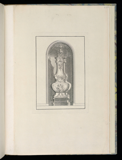 Design for an interior wall with a curved niche containing a ceramic stove. The central panel of the stove's decoration contains a scene of three winged putti amongst clouds, two of which hold flaming torches.