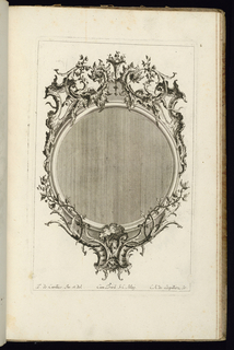 Upright frame design for a mirror or painting, circular form, topped with two dragons surrounded by scrollwork. Vegetal decoration complete the ornamental scheme.