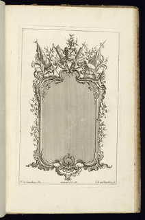 Upright frame design for a mirror or painting, a trophy of arms and armor at top surrounded by banners and drums. Vines of lives at right and left sides.