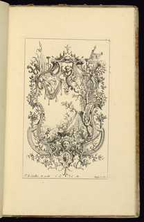 Design for an upright symmetrical cartouche, topped by a dragon; armorial trophies at upper right and left, vegetal decoration throughout, and a mascaron at lower center. Within the frame, a scene of putti figures setting up a tent or structure by draping fabric over tree branches. One putto sits on a drum and holds a banner.