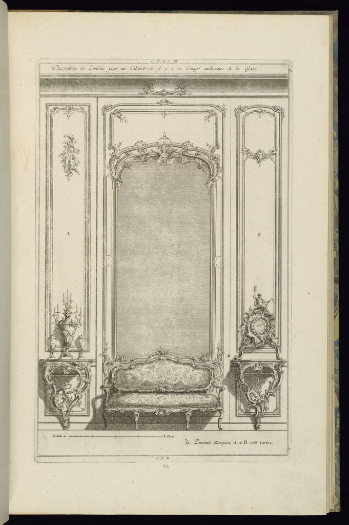 With a variant design for the two slender panels flanking the mirror.