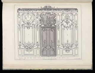 Design for interior in Rococo style. A wall with wainscoting, a large double door in the center. Above, an overdoor painting depicting several nude female figures playing music. Flanking the door are two panels in alternative styles. Scale at lower center.
