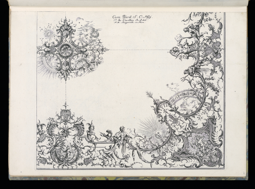 Folio 11, plate 3 of series 7. Design for ceiling with one quarter depicted. Upper left (presumed central ceiling motif), lard medallion with 4 quadrants: moon and stars (upper left), wind with birds in flight (upper right), rain (lower left), wind (lower right). Below, at right angle, grotesque figure, a cartouche with a scene of a small boy and dog, a helmet and spear, a sun, signs of the zodiac, neptune holding a triton, leaning on a barrel of falling water. Design is linked together by cartouches and arabesques. S and C scrolls. Sections are connected with dotted lines, presumably as a guide for the stucco decoration.