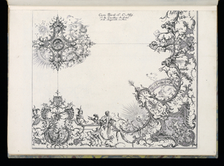 Bound Print, Quarter of a Ceiling, Livre de Plafonds (Book of Ceilings), 1740