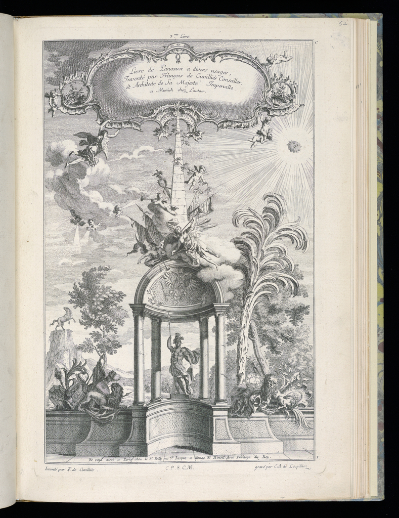Title page for third book of designs for panels. Architectural arch at center, below which is an armored figure figure flanked by lions and trophies. Palms, trees, and fantastical landscape in background; a horse bucking at the peak of a waterfall at left. Above, trumpeting angels and putti surround an obelisk. A sun shines at upper right; additional angels and putti support the frame which contains the title inscription.