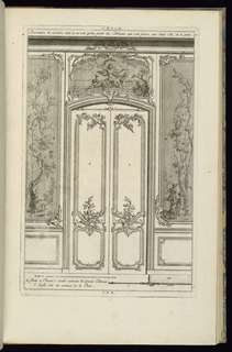 Print, Design for Wainscoting with a Double Door and Dessus de Porte, 1745