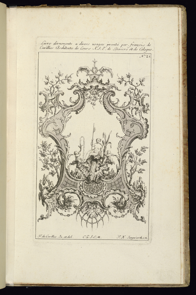 Design for upright symmetrical cartouche surrounded by scrollwork and vegetation. Within the frame, a female figure of a river goddess sitting upon a shell fountain, with putti figures at left and right.