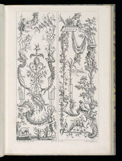 Two designs for upright panels in Rococo style. Left panel: At bottom, a satyr figure with a musket shooting a pig (swine) in a small landscape scene.  Above, at center, ornamental scrollwork with two entwined snakes surrounding a staff topped by a winged helmet. Above, at top, a trio of putti figures, one of which raises a basket of flowers above his head. Right panel: Ornamental scrollwork throughout with two figures at bottom, one of which is a putto holding a banner, the other a female nude with her arm outstretched. At top, various flying putti and a caryatid.