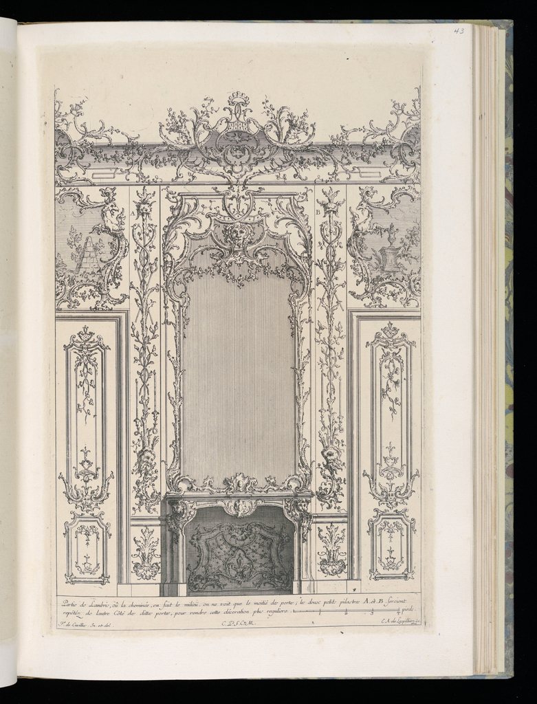 Design for an interior wall decoration with applied ornamental stuccowork.  At center, a chimneypiece with a large mirror above. At either side, partial views of doubledoors, each with an overdoor painting above depicting architectural ruins. The pilaster panels are decorated with trophies. Scale at lower right.
