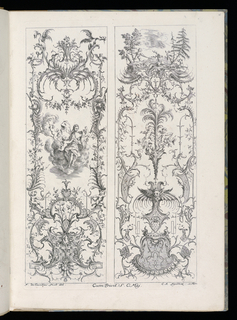Folio 5, plate 4 of series 6. Within rectangular framing lines, two designs for upright decorative panels in Rococo style. Panel at left: ornamental cartouche with scrollwork and putti figures. Above, a group of figures upon a cloud, including a woman and two putti. At top, scrollwork topped by a bird, an owl, and two dragons. Panel at right: scrollwork designs featuring a mask and putti figures. At top, a figural scene depicting a putto hunting a stag in a forest.