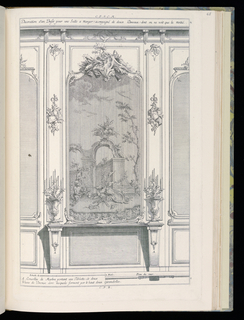 Design for interior wall in Rococo style. A framed painting or tapestry at center depicting a still life of fruit with monkeys at left, architectural ruins and partial view of landscape in background; the frame of the scene topped with an armorial trophy. Below the painting, a narrow marble console table with two matching pillars topped with matching gilt bronze candelabra. Flanking the painting are partial views of decorative wall panels (wainscoting). Scale at lower center.