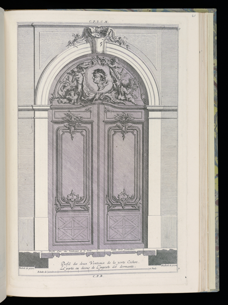Design for a carriage door (double door) in Rococo style. Each door decorated with panels, a geometric design at bottom. Above a transom, an arched decorative panel containing the profile of a male figure framed by putti. Scale at lower center.