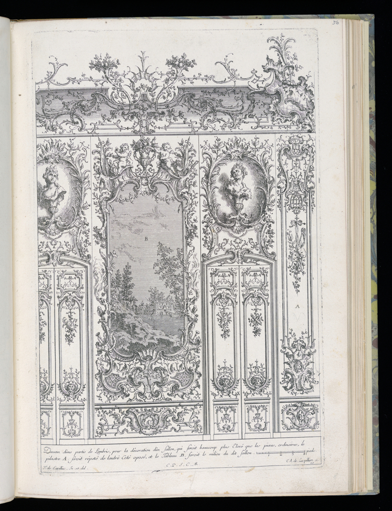 Design for an interior wall decoration with applied ornamental stuccowork. At center, a trumeau with an ornamental border containing a large landscape painting. At either side, a set of double doors, each with an oval niche with a sculptural bust above. Scale at lower right.