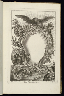 Blank asymmetrical upright cartouche in Rococo style topped by a large eagle with open wings. Armorial trophies at left near a horned mask.