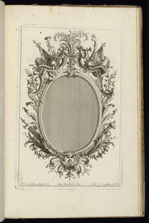 Upright frame design for a mirror or painting with oval opening, topped by two armorial trophies at upper left and right. Additional arms, plumage, and vegetal decoration complete the ornamental scheme.