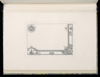 Design for a quarter of ceiling. At lower right, a cartouche with a scene of three putti figures in a clearing, one pulling a book from a box; dragons flank the design at left and right. At lower left and upper right, similar designs of vases filled with flowers. At upper left, the ceiling medallion.