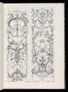 Folio 6, plate 5 of series 6. Within rectangular framing lines, two designs for upright decorative panels in Rococo style. Panel at left: various ornamental scrollwork, masks, dragons, birds, and armorial trophies. Panel at right: ornamental wscrollwork with masks; two putti figures play upon a curved rope at center.