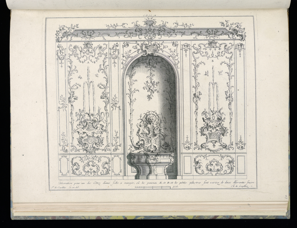 Interior design in Rococo style depicting a curved wall niche with a fountain. Surrounding the fountain are two pilaster panels, each depicting water fountain imagery in a different style. Scale at lower center.