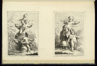 Print, Design with Pedestal with Two Children, the Lower One Sitting on a Dolfin, 1745