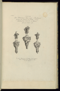 Print, Design for Three Wall Brackets with Vases, 1745